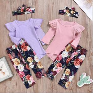 Baby-Kleidung-Kind-Blumenblumen-Kleidung stellt Ruffle gestrickte Hosen Stirnband Outfits Fest T-Shirt Pantsuit Hair Anzüge DYP6992 Tops