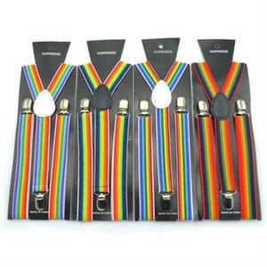 Suspenders adulte arc Accolades rayé clipser Y élastique au dos bretelles Bretelles Ceintures ajustables Costume Party Accessoires de mariage Cadeaux D6870