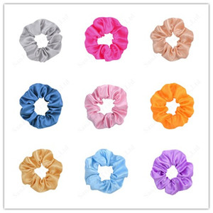 40 colori Donna Solid Holder Satin Hair Scrunchies Coda di cavallo morbido elastico dei capelli corda elastica accessori per ragazze di Natale Hairband C121008