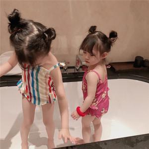 Arc en ciel Bébés filles Maillots de bain Bikini Beach mignon rayé Cartoon maillot de bain Printemps Été Maillots de bain manches maillots de bain une pièce 2 couleurs