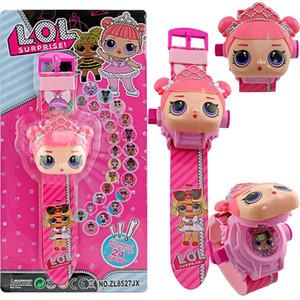 de dibujos animados muñeca linda miran 24 patrón de proyección de los niños del reloj flip electrónicos usan juguetes para niños juguetes mesa de lol