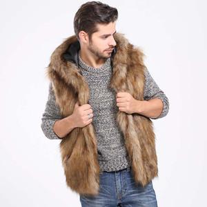 Invierno caliente Espesar hombres peludos de piel falsa chaleco con capucha sin mangas Chalecos con capucha bolsillos de la chaqueta de abrigo chaquetas Plus 3X 6Q2041