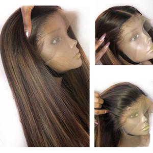 Tutkalsız 360 Dantel İnsan Saç Peruk ile zirveler Sarışın Preuvian Düz Tam Dantel Peruk Remy saç Ön Mızraplı ile Bebek Saç