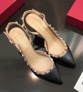 Горячие Сбывание Остроконечные Toe с заклепками на высоком каблуке натуральной кожи рок заклепки сандалии женщин шипованных Strappy платье обувь босоножки насосы + коробка
