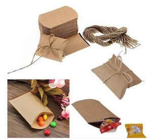 100Pcs lot Kraft Pillow Shape Wedding Favor Gift Box Party Candy Box Wholesales Pillow boxes Wedding Favors and Gifts Box wit
