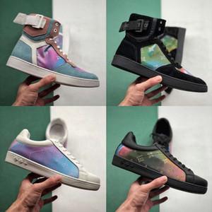 2019 Fashion Luxury Designer 19ss Colorful 5D Chameleon Donna Uomo Pelle Casual Scarpe da skate Laser Laser Nero Nero Vera pelle des Chaussures