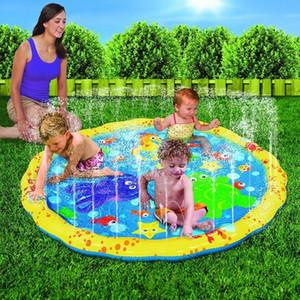 Kids Play Tapis d'extérieur gonflables Sprinkler Tapis Fun pulvérisation d'eau Mat Splash Tapis eau Tout-petit bébé Piscine DHW3656