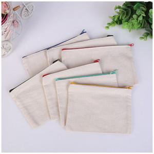Boş tuval fermuar Kalem durumlarda kalem torbalar pamuk kozmetik Çanta makyaj çantaları Cep telefonu debriyaj çanta organizatör dc792
