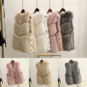 Diseñador de la Mujer Abrigos de Invierno de Faux Fox Fur Chaleco Caliente Cuatro colores En Stock de Alta Calidad Femenina Abrigos S-2XL