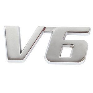 3D V6 Emblem Decal Metal Chrome 3M Sticker Badge per 6 cilindri Motore fai-da-te
