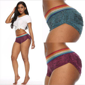 Exercise Clothing for Women Tall Waist Yoga Pants Leggings Rainbow Shorts Sexy Skin-Tight Trousers