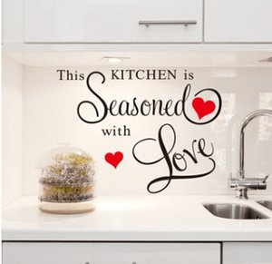 Kitchen Quote Wall Stickers This Kitchen Is Seasoned With Love Character Removable Wall Decal Home Decoration