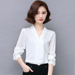 2019 new blouses Fashion popular Women European and American Chiffon V-collar long-sleeved jacket with loose shirt
