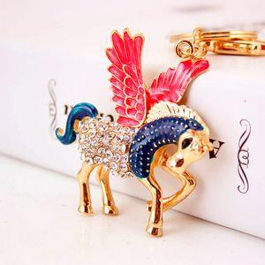 Creative rhinestone-inlaid Tianma Car key chain zodiac horse animal metal pendant key chain accessories gift
