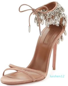 Hot Sale-Summer Eden crystal embellished sandals mujer sexy ladies high heels bride party wedding EU35-42 l12