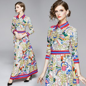 Wholesale Runway Design Dress Women Full Sleeve Plus Size High Waist Elegant Casual Vintage Printed Maxi Dresses Vestidos Free Shipping