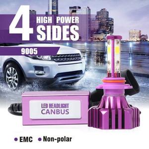 2x 9005 HB3 H10 4-Seiten-LED-Scheinwerferlampen Kit Conversion Hi / Lo Beam 6000K