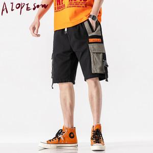 AIOPESON 2020 New Verão carga Shorts Mens Casual Sólidos cor da costura Shorts Men vestuário joelho estendido Homens Comprimento
