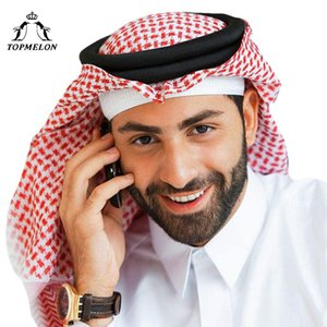 TOPMELON 아랍 이슬람교도 Hijab 남성 Plaids면 붉은 회색 흰색 스카프기도 모자 이슬람 의류