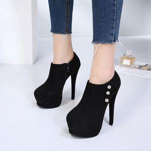 Sıcak Satış-Yuvarlak Burun Kristal Takunyalar Platformu Kadın ayakkabı Patikler Kadın 2019 Çizme Bayan Kış Patik Bayanlar Fermuar Rhinestone
