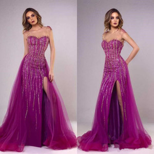 Modest Beaded Evening Dresses Lace Appliques Sexy Side Split Prom Gowns Custom Made Plus size Arabic Evening Party Gowns