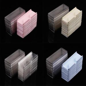 50шт / комплект Прозрачный Белый Розовый Пластиковые Ресницы Упаковка Box Поддельные Ресницы лоток для хранения крышка одного случая на заказ