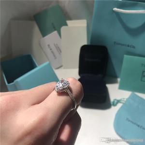 Anillo de bodas anillos de diamantes en forma de pera de lujo astilla del anillo del amor marca de fábrica famosa joyería de diseño 925 de compromiso de plata T Soleste
