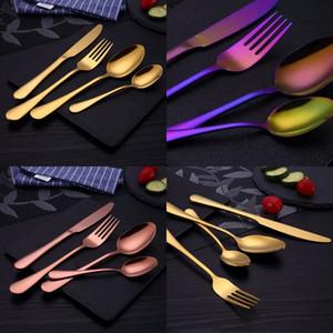 Edelstahl Messer Gabel Löffel Sets Vergoldet Steak Messer Gabeln Löffel Kits Westlichen Stil Essen Anzüge Kreative 10 4lc L1