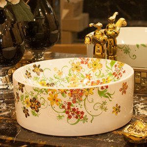 Europe style chinese Jingdezhen Art Counter Top ceramic bathroom sink painted