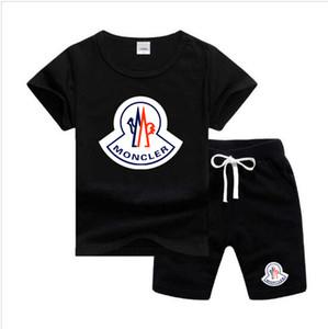 Cat Логотип Luxury Дизайнер моды костюм мальчик малыши Детские Baby Boy Нижнее черная горячая Одежда Cat Head печататься Футболка Топ Брюки 2pcs