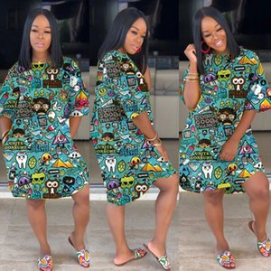 Summer 2020 new plus-size women's dress, stylish and sexy printed women's dress