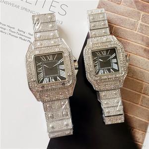 Marca de moda de boa qualidade relógios casal bonito das mulheres dos homens de cristal quadrado estilo dial pulseira de aço data de quartzo relógio de pulso CA22