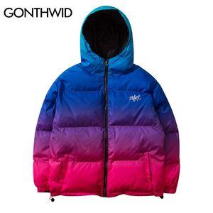 GONTHWID arco iris del gradiente con capucha Zip Up de doble cara Puffer Parka Chaquetas Streetwear Hip Hop invierno algodón acolchado Parkas Coats