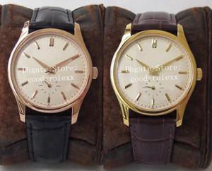 Среднегабаритный 37мм Luxury Yellow Rose Gold Часы мужские ST19 механические Ручной Winde движения 5196 Eta Часы Calatrava Кожа Женские Наручные часы