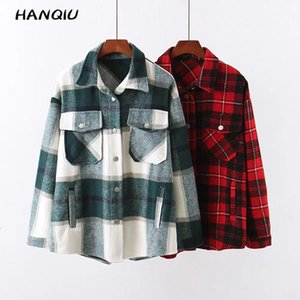 2020 Vintage plaid jacket women coats and jackets streetwear korean kawaii jackets coats oversized outerwear winter coat female