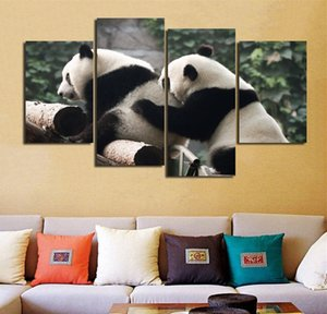 Unframed Canvas Art 포스터 인쇄 거실 벽 포스터 4 Pcs / Set 그림 귀여운 팬더 재생 모듈 그림