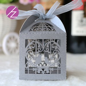 100 PCS / 리본 사탕 상자 결혼식 초대장 개인 맞춤 초콜릿 박스 스낵 박스와 많은 절묘한 호의 홀더