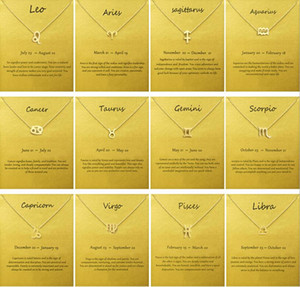 Moda No Logo piegata con la scheda del segno zodiacale catena placcata oro Leo / Virgo Ariete pendente / collana Choker gioielleria clavicola regalo femminile