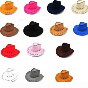 14colors Western Cowboy Hats Men Women Kids Brim Caps Retro Sun Visor Knight Hat outdoor Cowgirl Brim Hats GGA965