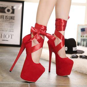 2019 Mulheres de Verão 19 centímetros Salto Alto Strap Sandals Correia estilete Bombas Heels Red Preto coreano alta Stripper sapatos