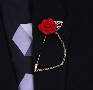 Factory direct sales Europe and the United States selling simple leaves flowers tassel corsage Korean version of the men's suit long pin bro