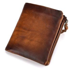 BAOERSEN cuir court Purse Pochette monnaie carte de poche Argent comptant Porte-crédit Sacs d'argent Hommes Portefeuilles Bifold Zipper s