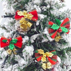 Regalos del árbol de Navidad decoración del árbol de Navidad del Bowknot de Bell tela escocesa del bowknot Adornos para niños decoración bowknot ornamento de la boda de Navidad