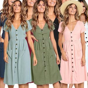 Botão clássico Verão Mulheres Vintage vestido de manga curta V Neck decorativas Vestidos Midi com bolso meninas Soild Casual Cor Saia Nova C42302