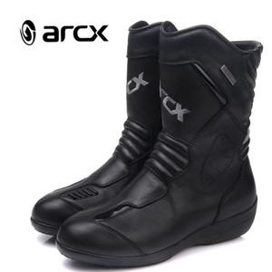 ARCX Femmes moto Bottes en cuir de vache véritable Moto Bottes imperméables Motorcross Noir Chaussures moto L60608