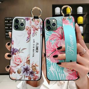 Alça de pulso Phone Holder para o iPhone 11 Pro Max 2019 capa para iphone 7 8 6 6s mais X Xs max XR 5 5S SE Flor macia capa TPU