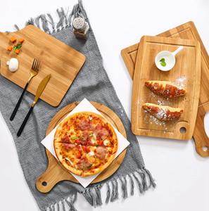 Ronde en bambou Planche à découper écologique Planche à découper Bloc Sushi Plate Hacher Plateaux de pain Assiette compotier Sushi Plateau KKA7918