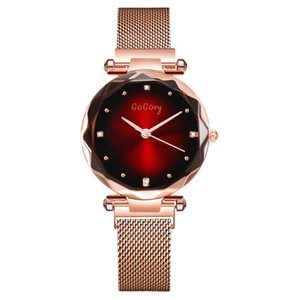 Fashion New Woman GOGOEY Prismatic Starry Sky Dial Drill Simple Mesh Belt Lady Watch For Student Gift WAT2061