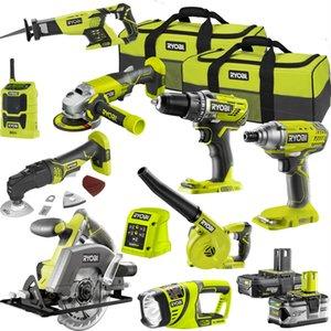 ريوبي 9 قطعة أدوات كهربائية كومبو كيت 18V واحد + 2.5 / 5.0Ah 2 × بطارية + شاحن