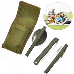 Mini portátil de vajilla del exterior herramienta de plegamiento cubiertos conjunto con cuchara tenedor cuchillos para comida campestre que acampa de acero inoxidable de excursión y camping Ca
